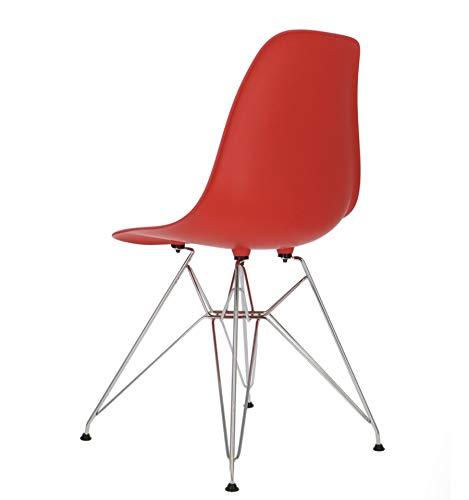 Icons Corner Pack 4 sillas Rojo IMS Modelo eiffelpatas cromadas