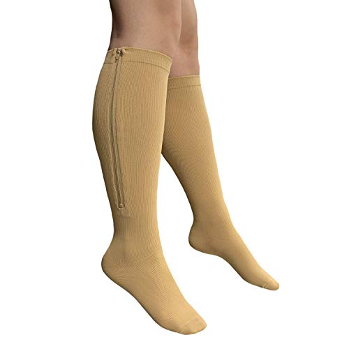 Presadee Closed Toe 15-20 mmHg Zipper Compression Leg Swelling Circulation Fatigue Knee Length Stocking Wide Big Calf Energy Support Socks (Beige, L/XL)