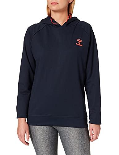HUMMEL ACTION COTTON HOODIE WOMAN Sweatshirt, DARK SAPPHIRE/FIESTA, M