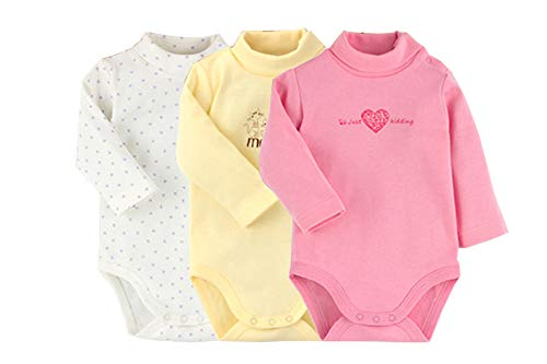 Infant Baby Boys Girls Long Sleeves Onesies Cotton Turtle-Neck Bodysuit Fall Winter Cloths Outfit (3-Pack, 3-6 Months)