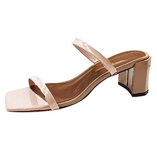WWricotta Women's Fashion Casual Open Toe Outdoor Solid Colors Slippers Square Heels Shoes(Beige,42)