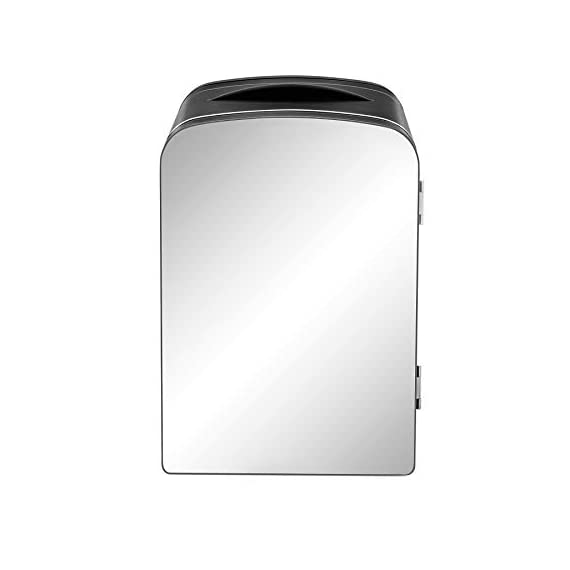 Chefman Portable Mirrored Personal Fridge 4 Liter Mini Refrigerator Skin Care, Makeup Storage, Beauty, Serums And Face… 1 MAKEOVER YOUR DESK: Compact design is perfect for storing your essentials at home, at work, in a dorm, or even on the go. Three chic color options and the mirrored door add an extra design flare to any space. Mirrored door makes this personal fridge the ideal accessory for your morning routine STORE COSMETICS BEAUTIFULLY: Extend the shelf life of your favorite skin care serums, cosmetic staples, or fresh face masks by keeping them chilled right on your vanity. Use the heat function to keep moist towels warm for a relaxing experience. CHILL OUT OR HEAT UP: Switch from heating to cooling at the flip of a switch. Keep your morning coffee warm or your afternoon smoothies chilled without ever leaving your desk. With 4-liter capacity, always keep up to 6 of your favorite 12 oz. canned beverages on hand.