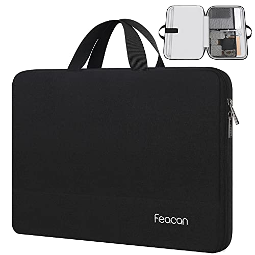 Feacan Laptop Sleeve, 15.6 inch Laptop Case Briefcase for Acer/Dell/HP/Lenovo/ASUS Notebook Ultrabook Chromebook, Water Resistant Handle Carrying Computer Bag, Gifts for Men Women, Black is $17 (41% off)
