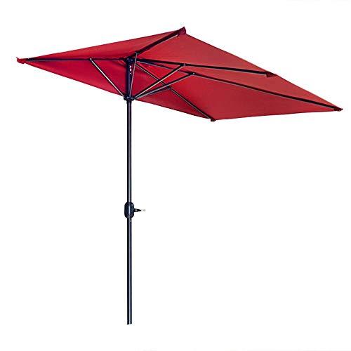 QULONG Sombrilla roja de 2,5 m para Patio, sombrillas de jardín, Playa al Aire Libre con Sistema de Mecanismo de manivela, sin Base