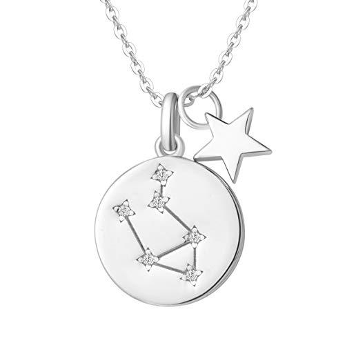 Waage Sternzeichen Kette aus Solide 925 Sterling Silber mit Weiß Vergoldet Anhänger Halskette Einfach Minimalistisch Geschenk Schmuck für Damen Mädchen - Verstellbar Kettenlänge: 40 + 5 cm
