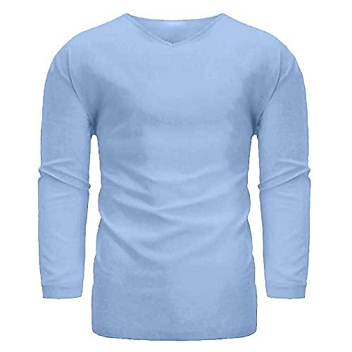 2021 Camiseta Hombre otoño Algodón y lino Manga Larga Color sólido camiseta Moda Casual Suelto T-shirt Blusas camisas Cuello en v Talla grande Camiseta básica Primavera Verano camiseta Tops