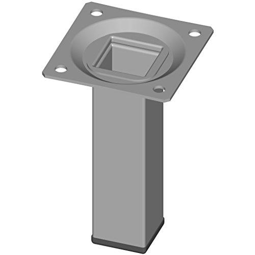 Element System 18133-00288 - 4 gambe in acciaio, base rettangolare, per tavoli e mobili con piastra di ancoraggio, Bianco, alluminio, Altezza: 10 cm