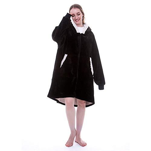WYHQL Blanket Sweatshirt Hoodie mit Reißverschluss, Oversized Hoodie Wearable Blanket, weiche, warme, Bequeme Kapuzen-TV-Decke für Erwachsene Männer, Frauen (Color : Black)