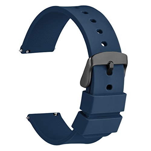 WOCCI 20mm Orologi Cinturino in Silicone con Fibbia Nera per Uomo Donna, Blu Scuro