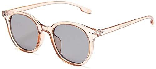 ZHANG Gafas De Sol para Mujer Gafas De Sol Redondas Pequeñas para Mujer Hombre Moda Remache Ojo De Gato Gafas De Sol para Hombre Negro Unisex Uv400,Beige-Grey