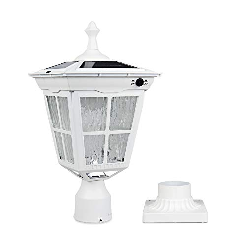 Kemeco ST4311AQ-W LED Cast Aluminum Solar Post Light Fixture with 3-Inch Fitter Base for Outdoor Garden Post Pole Mount (White)