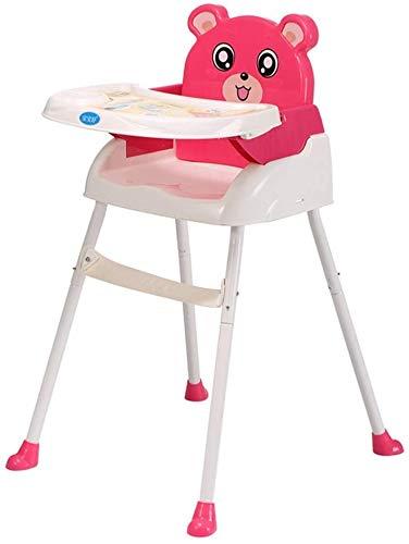Fnova Modern Faltbarer 4 in 1 Stuhl Baby Hochstühle mit Sitzerhöhung Tragbarer Hochstuhl und Sicherheitsgurt und Junior Sitz und herausnehmbares Tablett (Pink)