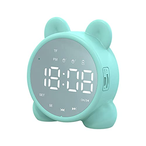 Houseen Digital Alarm Clocks with Bluetooth Speaker for Kids, Cat Ear USB Rechargeable Kids Alarm Clock Radios with Led Mirror Screen, Dual Alarm Clock for Bedroom