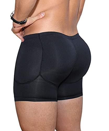 Men s Padded Shaper Shorts Hip Lift Boxer Briefs Slimming Shapewear Underwear, Detachable Pads