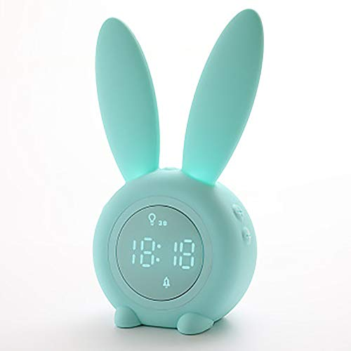 INEP Linda LED Reloj Despertador Digital, de Carga pequeño Reloj de Alarma temporizada Mute Reloj de Alarma Inteligente inducción LED luz de la Noche 12 / 24hr operación Reloj de cabecera es Simple,b