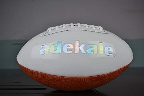 adekale Football,Battery-Free Light Up Football, Glow in The Dark Football, Fluorescent Bright After Sun Shine,Official Size& Weight (Size 6) with Pump for Man Teen Boy (red)
