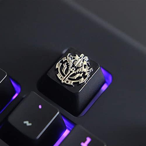 F-Mingnian-rsg Keycaps 1pc keycaps Botones de aleación de Zinc en Relieve Personalizados para Juegos Teclado mecánico Bricolaje único de Alta Gama para A (Colores: Overlord)