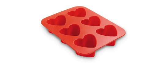 Guardini Juliette, Plaque à 6 cœurs 17 x 22,5 cm, silicone alimentaire, Couleur rouge
