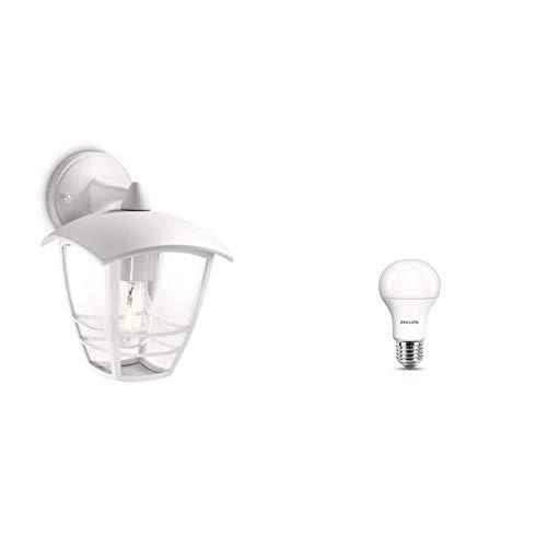 Philips Lighting Creek Aplique, Blanco, 24 cm + Bombilla LED estándar E27, 13 W equivalentes a 100 W en incandescencia, 1521 lúmenes, luz blanca cálida, pack de 2