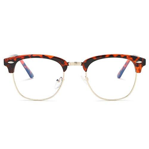 SOJOS Brille mit Blaulichtfilter Blockieren Blaue Licht Computerbrille ohne sehstärke Retro Vintage Horn Gestell Halbrahmen SJ5018 mit Schildkrötenrahmen/Goldrand/Anti-Blaulicht-Linse