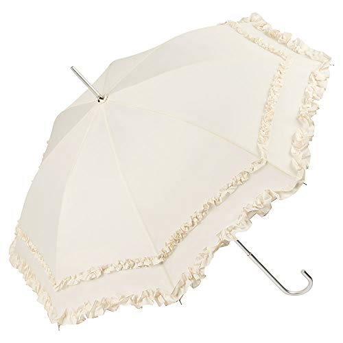 VON LILIENFELD Regenschirm Damen Sonnenschirm Brautschirm Hochzeitsschirm Kostüm Tracht Automatik Mary Creme Rüschen