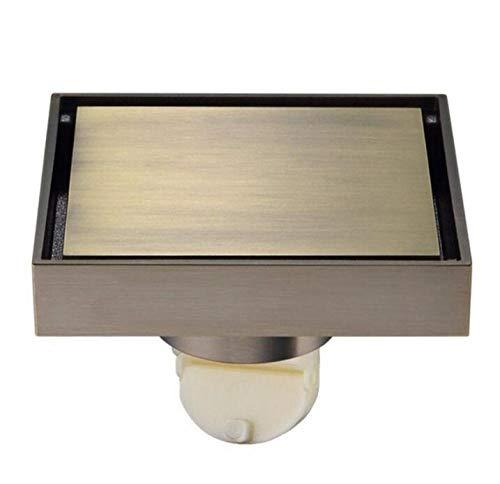 Rmbearmoni Afvoer bad koper onzichtbare vierkante bodemafvoer antieke douchecabine messing diepte waterafdichting 4 inch zeef