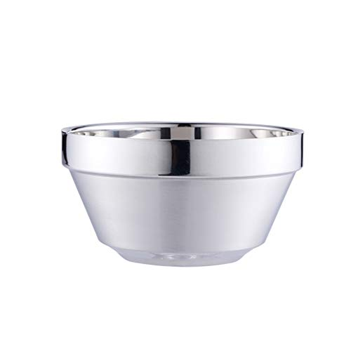 XINGZHE Bowl, chrome steel bowl, youngsters's tableware, double-layer anti-scalding, youngsters's bowl, drop-proof, mixing bowl, appropriate for household, industrial restaurant tableware (Size : 12cm)