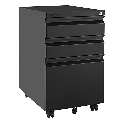 Bonnlo 3-Drawer Mobile File Cabinet with Lock Under Desk Office Drawers Fully Assembled Except Casters,Black