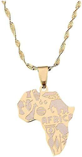 Collar de mapa, collares con colgante de acero inoxidable, Color dorado, elefante africano, mapa, leones, jirafas, joyería para mujer