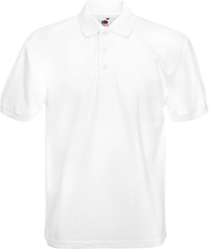 (XXX-Large, White) - Fruit of the Loom Pique Polo Shirt