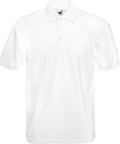 Fruit of the Loom Männer 65/35, Piqué-Polo, normale Passform, Kurzarm, Polo-Shirt Gr. L, weiß