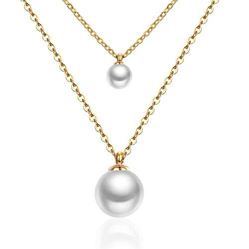YioKpro Collar de Cadena Doble de Acero Inoxidable 316L, Gargantilla de Perlas Falsas, Colgantes, Collares, joyería de Lujo para Mujer, Collar gótico