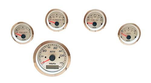 Dolphin Gauges 5 Gauge GPS Speedometer Gauge Set White