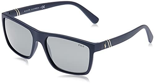Polo Ralph Lauren PH4133 óculos de sol retangulares masculinos, Matte Navy Blue/Mirror Silver, 59 mm