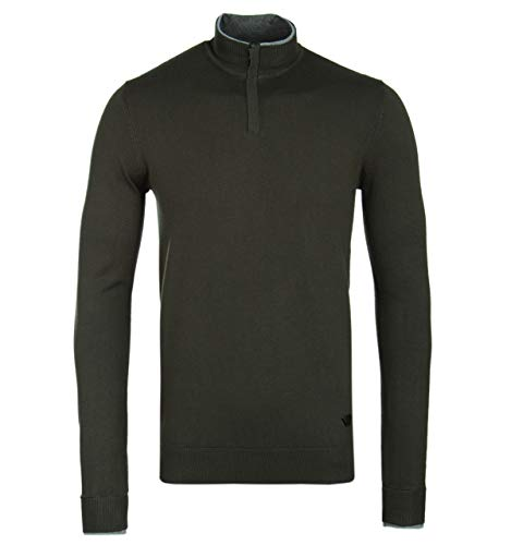 Armani Jeans Olive Green Quarter Zip Knitted Sweatshirt-LARGE