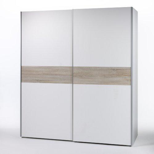 Stella Trading Victor 2 Kleiderschrank, Schwebetürenschrank Holzdekor, Weiß-Bauchbinde Eiche Sonoma, ca. 170 x 195 x 60 cm
