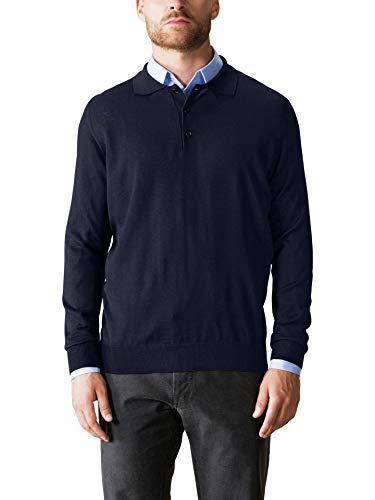 Walbusch Herren Merino Mix Polo Pullover einfarbig Marine 52