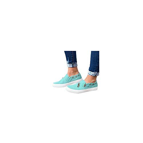 Slip On Sneaker Damen Denim Slipper Plateau Loafer Bequeme Leichte Atmungsaktive Freizeitschuhe Low Top Flache Schuhe Weich Halbschuhe Celucke (Blau, 38 EU)