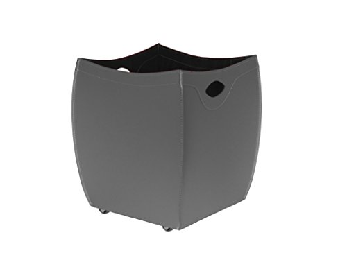 BOTTE: Porte bûches en cuir deux tons couleur Noir et Tourterelle, panier pour bûches, chariot à bois.