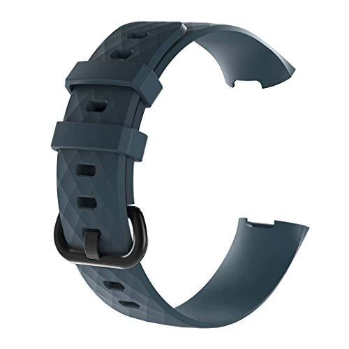 6Wcveuebuc Sportarmband für Fitbit Charge3 / 3 SE / 4 / 4 SE Smartwatch, strukturiertes Silikonband, klein und groß