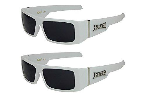 X-CRUZE X-CRUZE 2er Pack Locs 9058 X06 Sonnenbrillen Unisex Herren Damen Männer Frauen Brille - 1x Modell 03 (weiß glänzend/schwarz getönt) und 1x Modell 03 (weiß glänzend/schwarz getönt)