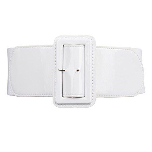 weiß rockabilly gürtel elastischer gürtel mit runder schnalle fashion gürtel M CL620-2