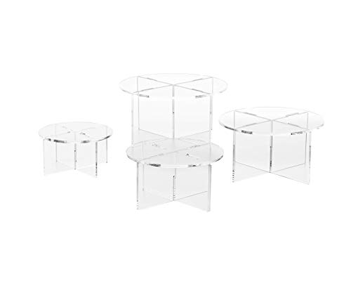 Clear Choice, 4 Acrylic Round disassemble Riser Display Stand | Multipurpose Tabletop Risers for Displaying Personal or Business Decor, Cupcakes | Clear, Stable (Small)