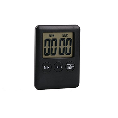 XGao Best Digital Kitchen Timer,Digital Cooking Timer with Large Screen,Strong Magnet Back, Kickstand, Loud Alarm,Auto Shut-Off for Cooking Baking,Reminder for Student Sports Games Office (Black)
