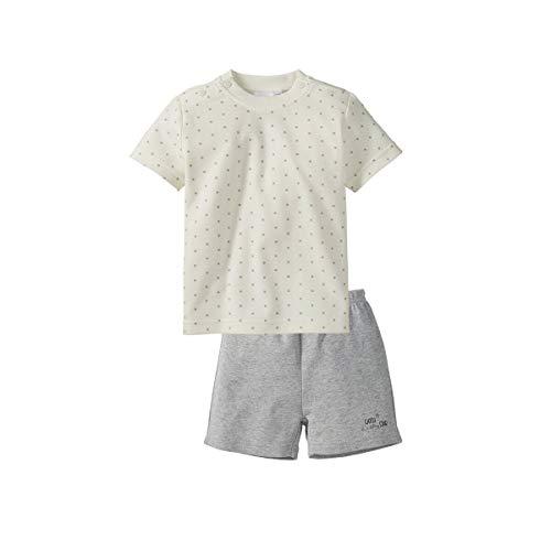 Bornino Basics Schlafanzug kurz - Baby-Pyjama mit kurzen Ärmeln & Hosenbeinen - Schlafhose & Schlaf-Shirt - Sterneallover/grau Melange