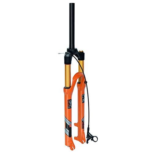 VXXV Bicycle MTB Fork 26 27.5 Inch Orange 140mm Travel Suspension 1-1/8' Ultralight Alloy 9mm QR Unisex LvTu-0019 Shock Absorber (Color : Straight Remote Lockout, Size : 26 inch)