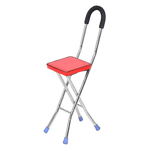 Sedile pieghevole in canna, sgabello a quattro gambe in acciaio inossidabile, sedia stampella per donne e uomini, sedia leggera antiscivolo con bastone da passeggio per anziani ausili da viaggio all'a