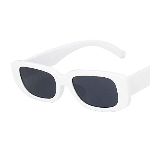 NJJX Gafas De Sol Rectangulares Pequeñas Para Mujer Gafas De Sol Cuadradas Vintage Para Mujer C7Whiteblack