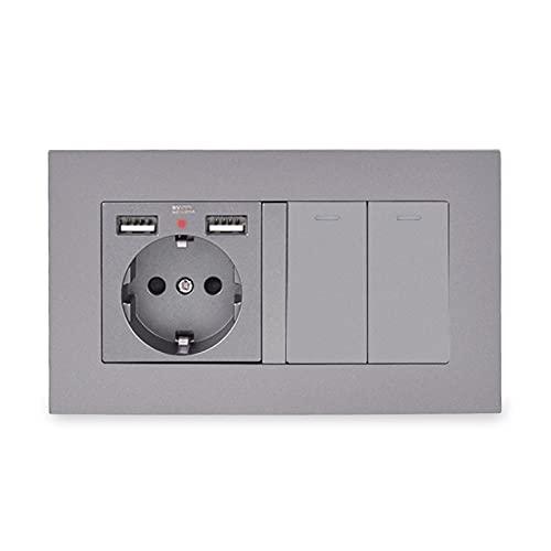 Enchufe de Pared con 2 Puertos de Carga USB + 2 GAND 2 Way Pass A TRAVÉS del INTERRUPADO DE LA LUZ EN EL Interruptor DE LUZ CUBRADA PC Diseño Elegante (Rated Voltage : 110-250V, Type : Grey)