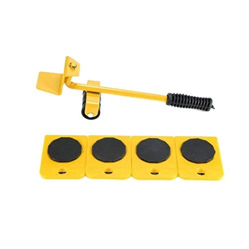 nJiaMe Rodillo Muebles Levantador Mover Juego de Herramientas de Muebles Deslizante Heavy Duty Muebles para los sillones sofás Refrigeradores 5PCS Amarillo